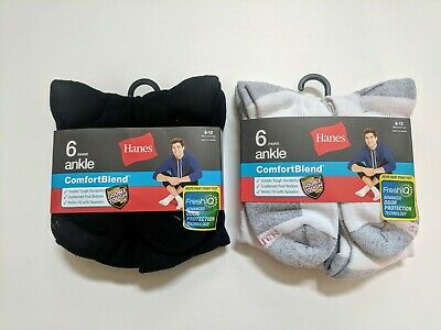 Hanes Mens ComfortBlend® Cushioned Ankle Sock Shoe Size 6-12 Large 6-Pair New