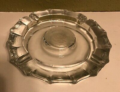 "Vintage UNITED STATES SENATE 8"" Glass Ashtray W/ Etched Senate Emblem"