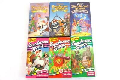 Lot of 6 Disney SING ALONG SONGS VHS Peter Pan Christmas Jungle Book Aladdin
