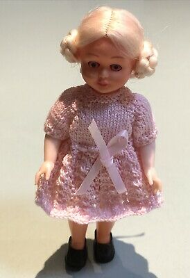 Vintage Hard Plastic Doll 15cm Blonde Nylon Hair Hand Knitted Pink Clothes
