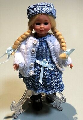 Vintage Hard Plastic Doll 18cm Blonde Nylon Hair Hand Knitted Blue Clothes