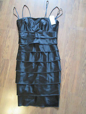 NWT Women's Calvin Klein Black Evening Dress Layered Size 8 Cocktail