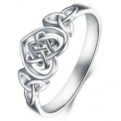 Women 925 Silver Love Heart Infinity Ring Wedding Proposal Promise Jewelry Gift