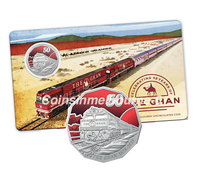 2019 90th Anniversary of the Ghan - 50 cent UNC Coloured Coin Australia