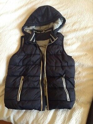 Seed Heritage Boys Puffer Vest Black With Hood Size 9-10 Years