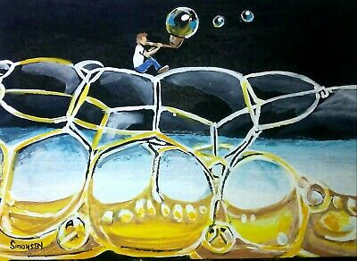 "ORIGINAL ACRYLIC  PAINTING ACEO ""ON THE BUBBLE"" Signed by artist"