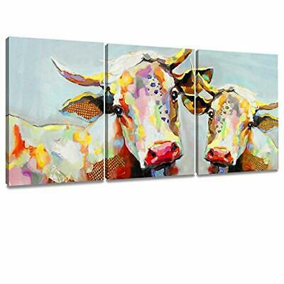 Decor MI Colorful Cow Painting on Canvas Wall Art Wall Decoration Modern Artwork