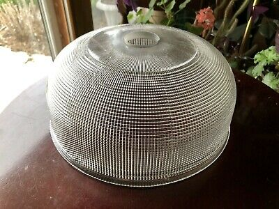 """Vintage Pagoda Bell Holophane Style Clear Glass Prismatic Shade 1 5/8"""" Fit Hole"""