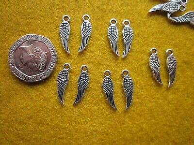 50/100 - Small Tibetan Silver Tone - Angel Wing - Wing Charms