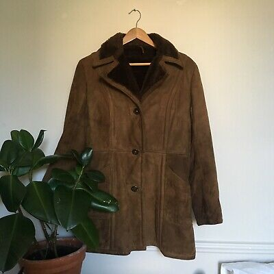 Vintage 60s Style Shearling Brown Suede Coat by Debenhams UK12