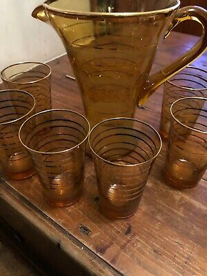 Stunning Amber Gold Gilded Jug And 6 Glasses Mid Century / Vintage