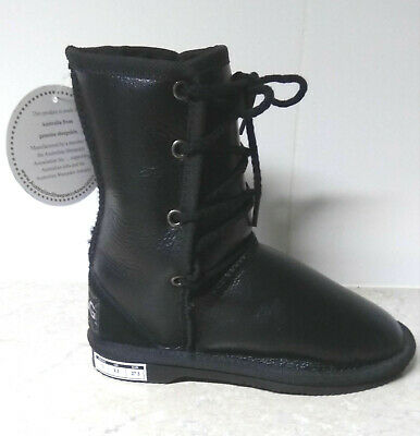 kid laceup ugg boots boy 100% sheepskin australian made napa BROWN leather 10 11