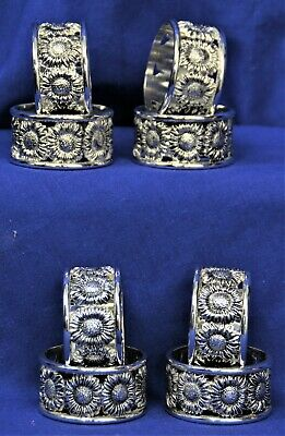 Silver Plated Antique Finish Sunflower Napkin Rings 2 BOXES OF 4