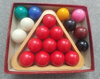 Vintage ~ Set of Smaller Snooker Balls with wooden triangle and original box