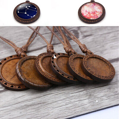 Jewelry Making Diy Craft Necklace Pendant Base Round Wooden Cabochon Tray Cameo