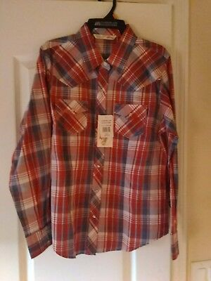 Cumberland Outfitters By Ely Plaid Boys Shirt Size Larga Nwy Red/white/blue