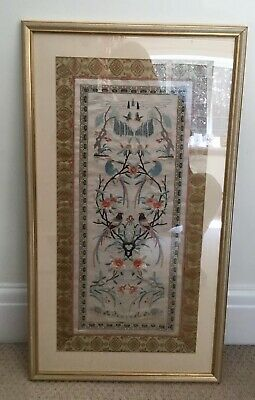 Vintage Chinese Silk Embroidery Picture / Large / Love Birds / Flowers   FRAME