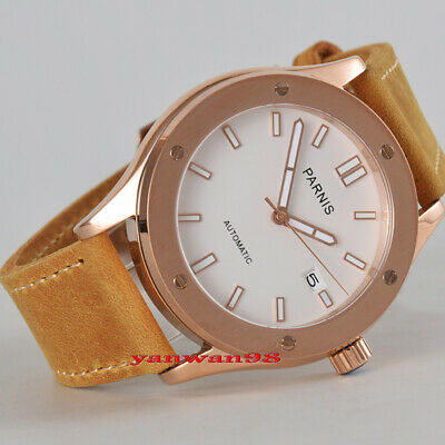 42mm Parnis rose gold case white dial sapphire crystal Miyota automatic watch 09
