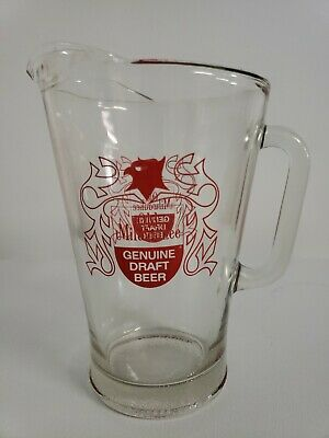 "Vintage Old Milwaukee Beer Heavy Glass Bar Pub 9"" Pitcher"