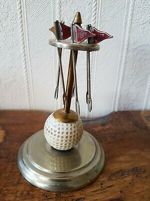 Unusual Vintage 19th Hole Flag Olive Picks On Golf Ball Stand