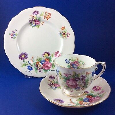 Roslyn Minuet Fine Bone China Tea Cup And Saucer Trio - 4 Sets Available