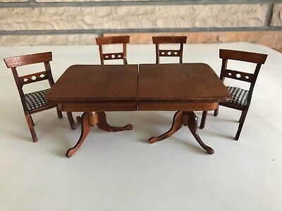 Vintage Renwal Doll House Miniature Wood Dinning Table & Chairs Set