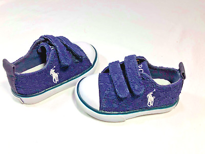 Ralph Lauren Polo Toddler Boys Shoes Sneakers Size 4 Blue Good Condition