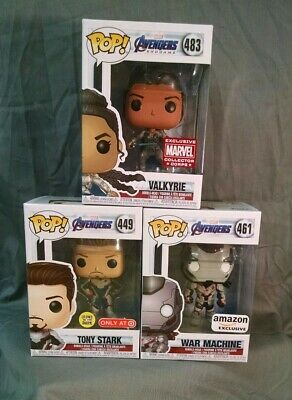Avengers Endgame Funko Pop Lot - Target Tony Stark 449, War Machine, Valkyrie