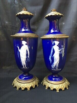 Beautiful Pair -Antique Cobalt French Porcelain Pate Sur Pate Lamps-circa 1900.