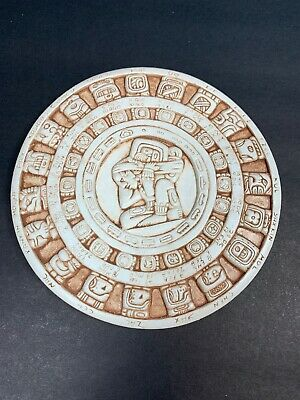 Mayan Calendar - Mexican Wall Art  Hand Made  - White Wash & Coffee Bean - 7.25""