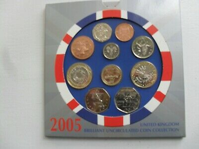 2005 UK Brilliant uncirculated coin collection.Royal Mint
