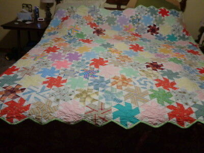 Vintage Quilt Hand Stitched 89 X 75  With Machine Stitched Back