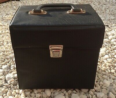 Vintage Vinyl Record Case Box Singles 45 Storage Box DJ black Carry Case Retro