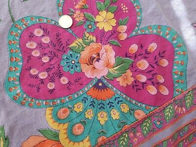 VTG April Cornell Trading Purple Pink Green Floral Peonies Tablecloth Cotton