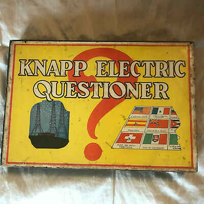 Vintage Knapp Electric Questioner, Wooden Hinged Box, Color/Non Cards, 1930s