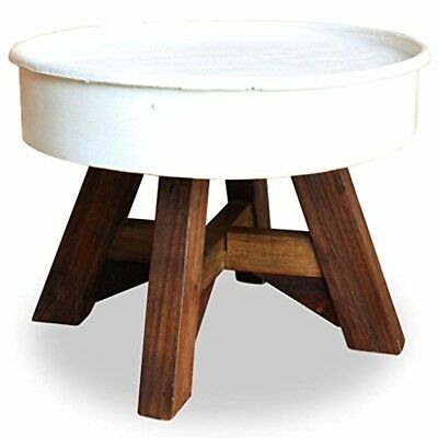 Small Retro Table Reclaimed Wood White Steel Industrial Sofa Room Corner Round