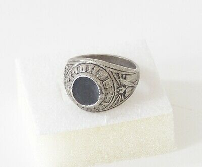 Art Deco - Sehr alter Ring / Herrenring - High School - versilbert - Größe 59