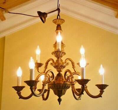 Antique vintage French Flemish brass rococo 9 lamp ceiling light chandelier 1940