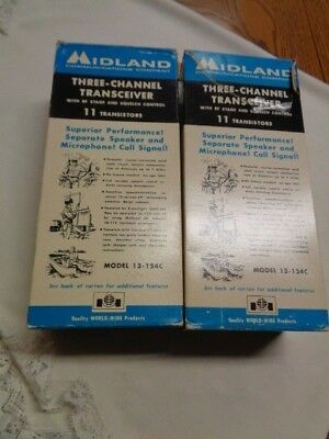Vintage Midland Three-Channel Transeiver Model 13-124C In Boxes