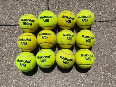 12 Used Babolat VS Tennis Balls (Ideal For A Budding Tennis Player)