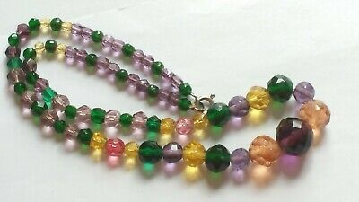 Czech Vintage Art Deco Multi Coloured Faceted Glass Bead Necklace Signed