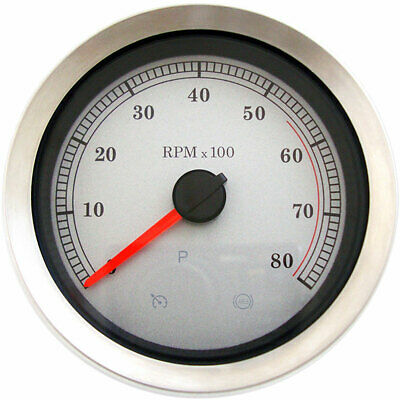"""Stock Repl. 4"""" Electronic Tachometer White Face 2004-13 Harley Models"""