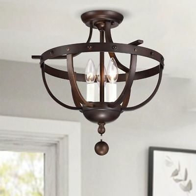 Ceiling Mounted Light White Frame And Rustic Round Wood