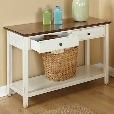 Entry Table Sofa Farm House Rustic Country Kitchen Console w Storage Drawers New
