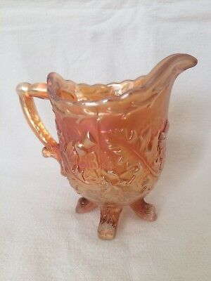 Vintage 1930's Sowerby Carnival Glass Cream Jug Marigold With Thistle Pattern