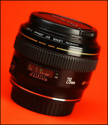 Canon EF 28mm F1.8 Ultrasonic Autofocus Wide Angle USM Lens + Front & Rear Caps