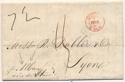Lettre Outre-Mer Le Havre Rouge P. Albany New-York United State Cover Maritime