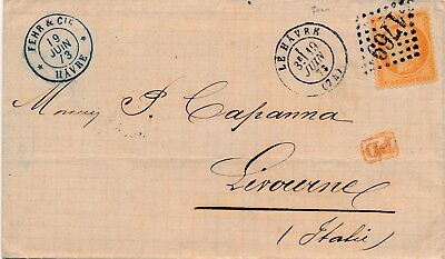 Lettre n°38 Le Havre pour Livourno Cover Brief Italy