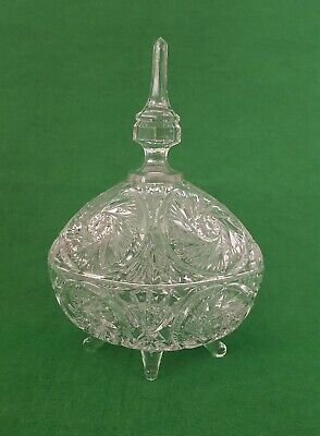 Vintage cut Glass Crystal tall Lidded Bonbon Dish jar