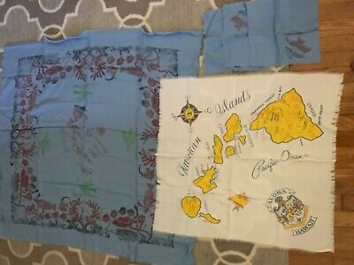 VINTAGE Hawaii SOUVENIR TABLECLOTH, scarf & napkins (BRIGHT AND COLORFUL)